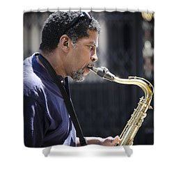 Saxophone Player Shower Curtain by Carolyn Marshall