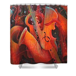 Saxy Cellos Shower Curtain by Susanne Clark