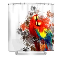 Scarlet Macaw Shower Curtain by Lourry Legarde