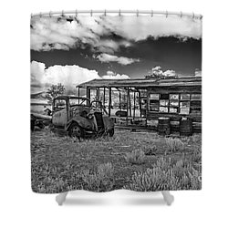 Schellbourne Station And Old Truck Shower Curtain by Robert Bales