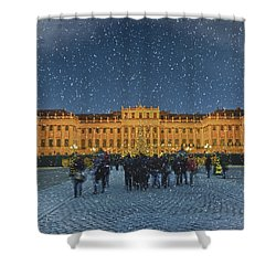 Schonbrunn Christmas Market Shower Curtain by Joan Carroll