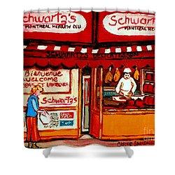 Schwartz's  Deli  Montreal Landmarks Shower Curtain by Carole Spandau