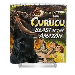 Scottish Terrier Art Canvas Print - Curucu Movie Poster Shower Curtain by Sandra Sij