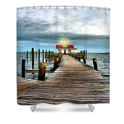 Screw-pile Lighthouse Shower Curtain by Nadine Lewis