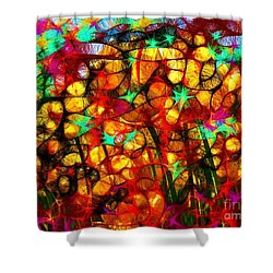 Scribble Flowers Shower Curtain by Elizabeth McTaggart
