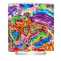 Scribble Shower Curtain by Gerry Robins