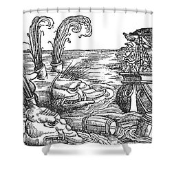Sea Monsters Or Whales, 16th Century Shower Curtain by Photo Researchers
