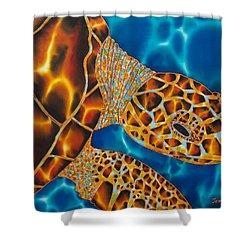Sea Turtle Shower Curtain by Daniel Jean-Baptiste