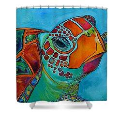 Seaglass Sea Turtle Shower Curtain by Patti Schermerhorn