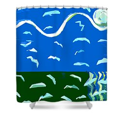 Seagulls Over Ocean Shower Curtain by Patrick J Murphy