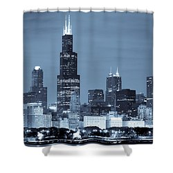 Sears Tower In Blue Shower Curtain by Sebastian Musial