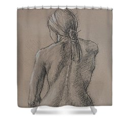 Seated Figure Shower Curtain by Sarah Parks