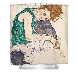 Seated Woman With Legs Drawn Up. Adele Herms Shower Curtain by Egon Schiele