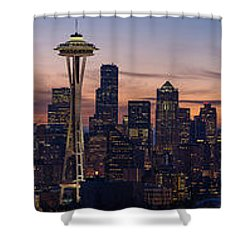 Seattle Cityscape Morning Light Shower Curtain by Mike Reid