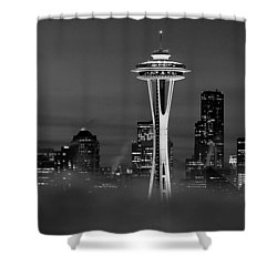 Seattle Morning Mist Black And White Shower Curtain by Benjamin Yeager