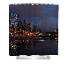 Seattle Night Skyline Shower Curtain by Mike Reid