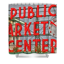 Seattle Public Market Center Clock Sign Shower Curtain by Tap On Photo