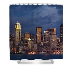 Seattle Skyline Sunset Detail Shower Curtain by Mike Reid