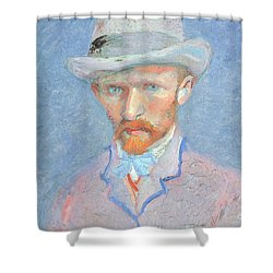 Self-portrait With Gray Felt Hat Shower Curtain by Vincent van Gogh