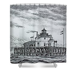Semiahmoo Lighthouse - Drawing Shower Curtain by James Williamson
