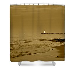 Sepia Lighthouse Shower Curtain by Frozen in Time Fine Art Photography