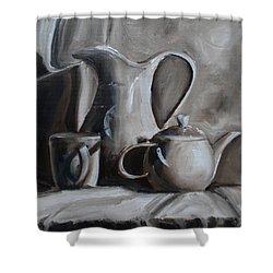 Sepia Still Life Shower Curtain by Donna Tuten