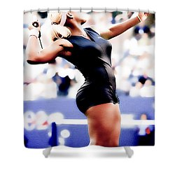 Serena Williams Catsuit Shower Curtain by Brian Reaves