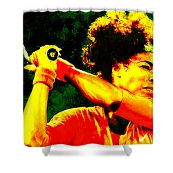 Serena Williams In A Zone Shower Curtain by Brian Reaves