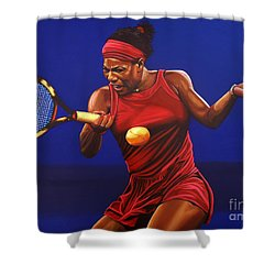 Serena Williams Painting Shower Curtain by Paul Meijering
