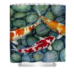 Serenity Koi Shower Curtain by Hailey E Herrera