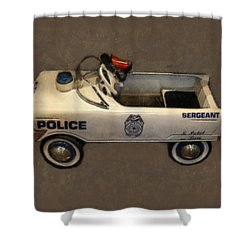 Sergeant Pedal Car Shower Curtain by Michelle Calkins