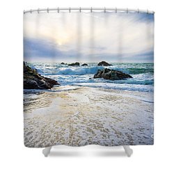 Setting Sun And Rising Tide Shower Curtain by CML Brown