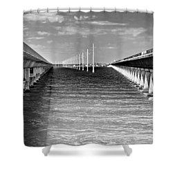 seven mile bridge BW Shower Curtain by Rudy Umans