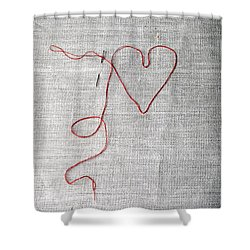 Sewing A Heart Shower Curtain by Joana Kruse