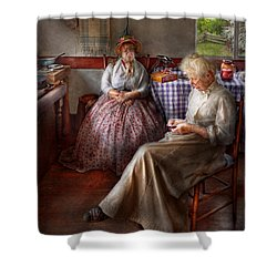 Sewing - I Can Watch Her Sew For Hours Shower Curtain by Mike Savad