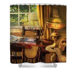 Sewing Machine - Domestic Sewing Machine Shower Curtain by Mike Savad