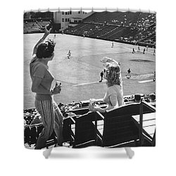 Sf Giants Fans Cheer Shower Curtain by Underwood Archives