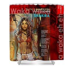 Shakira Art Poster Shower Curtain by Corporate Art Task Force