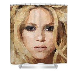 Shakira Portrait Shower Curtain by Samuel Majcen