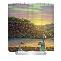 Sharing A Moment Shower Curtain by James W Johnson