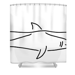 Shark Shark Fish Fin Sea Shower Curtain by Lineamentum