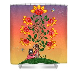 She Is Life Barnes And Noble Shower Curtain by Victoria De Almeida