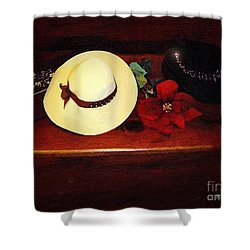 She Loved Hats Shower Curtain by RC DeWinter