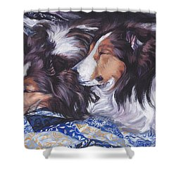 Sheltie Love Shower Curtain by Lee Ann Shepard