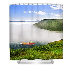 Ship Entering The Narrows Of St John's Shower Curtain by Elena Elisseeva