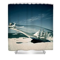Ship In The Bottle Shower Curtain by Michal Bednarek