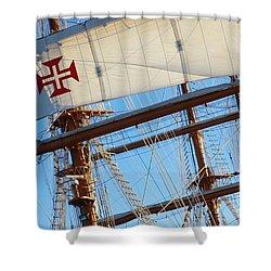 Ship Rigging Shower Curtain by Carlos Caetano