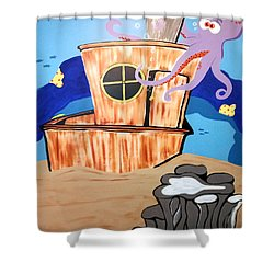 Ship Wrecked Shower Curtain by Tami Dalton