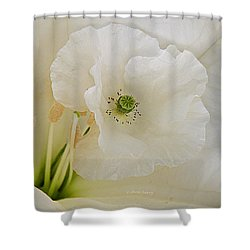 Shirley And The Moonflower Shower Curtain by Chris Berry
