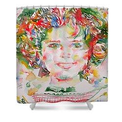 Shirley Temple - Watercolor Portrait.1 Shower Curtain by Fabrizio Cassetta